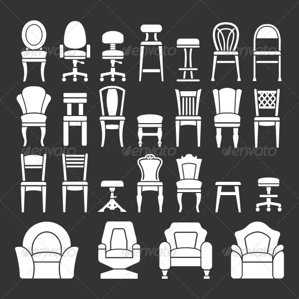 GraphicRiver Set Icons of Chairs 8216736