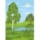 Summer Landscape with Trees and River - GraphicRiver Item for Sale