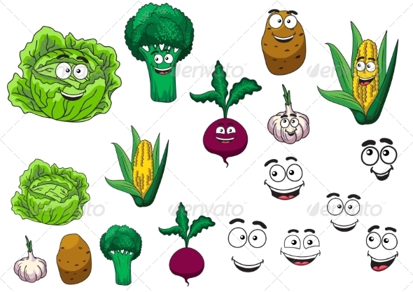 GraphicRiver Cartoon Vegetables 8217240