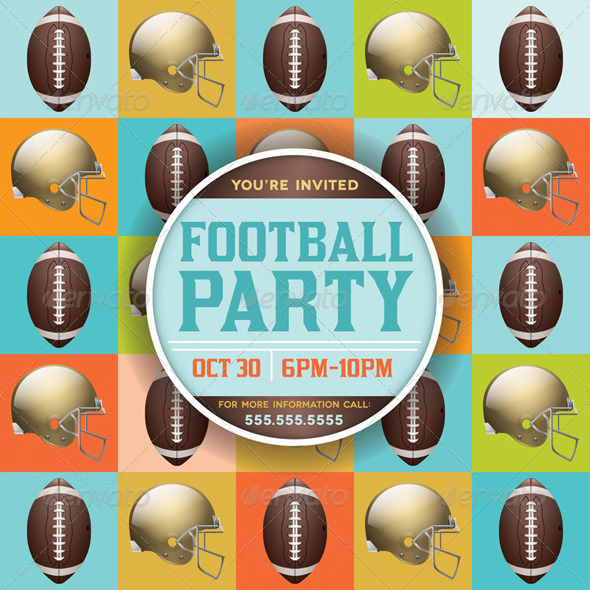 GraphicRiver Vector Football Pattern Party Invitation 8217293