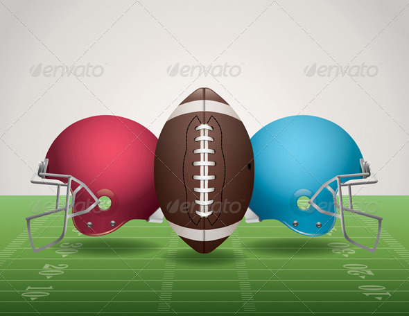 Vector American Football Field Ball and Helmets