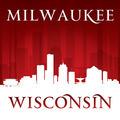 Milwaukee Wisconsin city skyline silhouette red background - PhotoDune Item for Sale