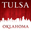 Tulsa Oklahoma city skyline silhouette red background - PhotoDune Item for Sale