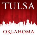 Tulsa Oklahoma city skyline silhouette red background - PhotoDune Item for Sale
