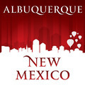 Albuquerque New Mexico city skyline silhouette red background - PhotoDune Item for Sale