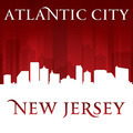 Atlantic City New Jersey city skyline silhouette red background - PhotoDune Item for Sale