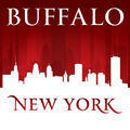 Buffalo New York city skyline silhouette red background - PhotoDune Item for Sale