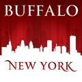 Buffalo New York city skyline silhouette red background - PhotoDune Item for Sale