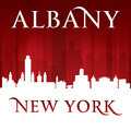 Albany New York city skyline silhouette red background - PhotoDune Item for Sale