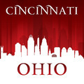 Cincinnati Ohio city skyline silhouette red background - PhotoDune Item for Sale