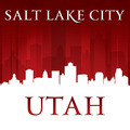 Salt Lake City Utah city skyline silhouette red background - PhotoDune Item for Sale