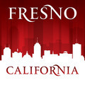 Fresno California city skyline silhouette red background - PhotoDune Item for Sale