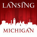 Lansing Michigan city skyline silhouette red background - PhotoDune Item for Sale