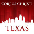 Corpus Christi Texas city skyline silhouette red background - PhotoDune Item for Sale
