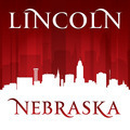 Lincoln Nebraska city skyline silhouette red background - PhotoDune Item for Sale