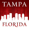 Tampa Florida city skyline silhouette red background - PhotoDune Item for Sale
