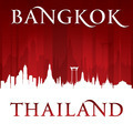 Bangkok Thailand city skyline silhouette red background - PhotoDune Item for Sale