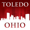 Toledo Ohio city skyline silhouette red background - PhotoDune Item for Sale
