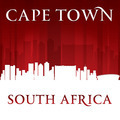 Cape Town South Africa city skyline silhouette red background - PhotoDune Item for Sale