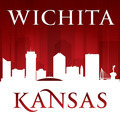 Wichita Kansas city skyline silhouette red background - PhotoDune Item for Sale