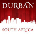Durban South Africa city skyline silhouette red background - PhotoDune Item for Sale
