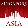 Singapore Asia city skyline silhouette red background - PhotoDune Item for Sale