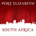 Port Elizabeth South Africa city skyline silhouette red background - PhotoDune Item for Sale