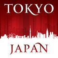 Tokyo Japan city skyline silhouette red background - PhotoDune Item for Sale
