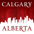 Calgary Alberta Canada city skyline silhouette red background - PhotoDune Item for Sale