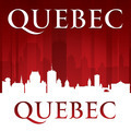 Quebec Canada city skyline silhouette red background - PhotoDune Item for Sale