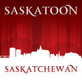 Saskatoon Saskatchewan Canada city skyline silhouette red background - PhotoDune Item for Sale