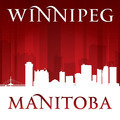 Winnipeg Manitoba Canada city skyline silhouette red background - PhotoDune Item for Sale