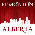 Edmonton Alberta Canada city skyline silhouette red background - PhotoDune Item for Sale