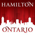 Hamilton Ontario Canada city skyline silhouette red background - PhotoDune Item for Sale