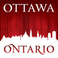 Ottawa Ontario Canada city skyline silhouette red background - PhotoDune Item for Sale