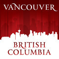 Vancouver British Columbia Canada city skyline silhouette red background - PhotoDune Item for Sale