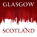 Glasgow Scotland city skyline silhouette red background - PhotoDune Item for Sale