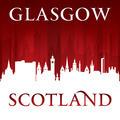 Glasgow Scotland city skyline silhouette red background - PhotoDune Item for Sale