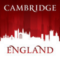 Cambridge England city skyline silhouette red background - PhotoDune Item for Sale