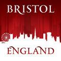 Bristol England city skyline silhouette red background - PhotoDune Item for Sale
