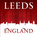 Leeds England city skyline silhouette red background - PhotoDune Item for Sale