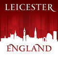 Leicester England city skyline silhouette red background - PhotoDune Item for Sale