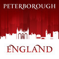 Peterborough England city skyline silhouette red background - PhotoDune Item for Sale