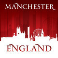 Manchester England city skyline silhouette red background - PhotoDune Item for Sale