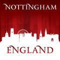 Nottingham England city skyline silhouette red background - PhotoDune Item for Sale