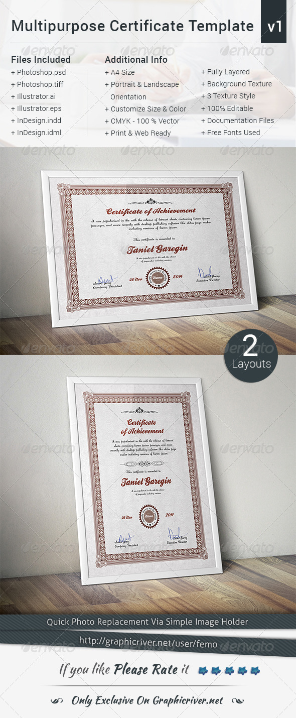 GraphicRiver Multipurpose Certificate Template Volume 1 8217501