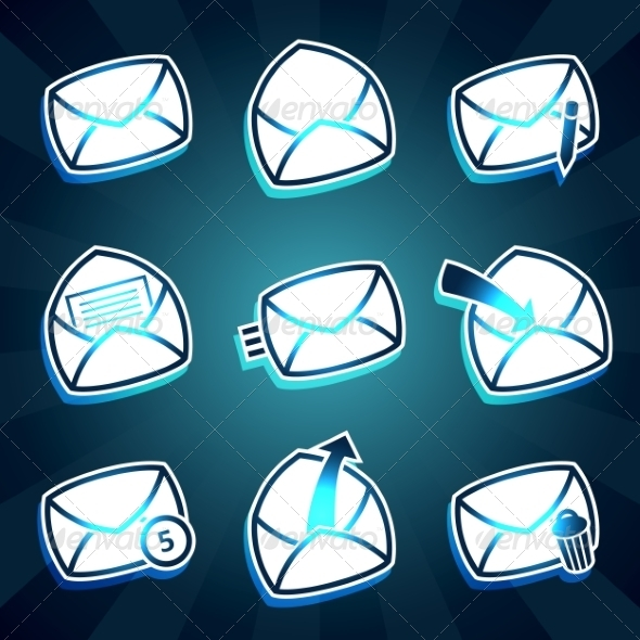 GraphicRiver Set of Message and Envelop Icons for Email 8217945