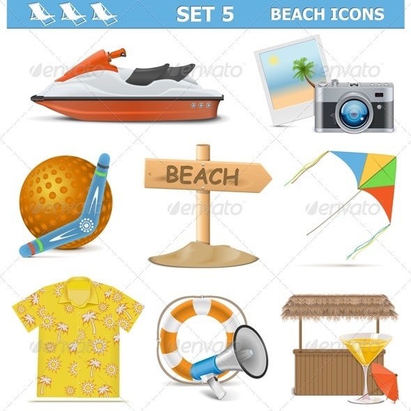 GraphicRiver Beach Icons Set 5 8218248