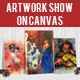 Artwork Show Mockup On Canvas - GraphicRiver Item for Sale