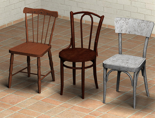 Chairs Pack 1 - Low Poly - 3DOcean Item for Sale